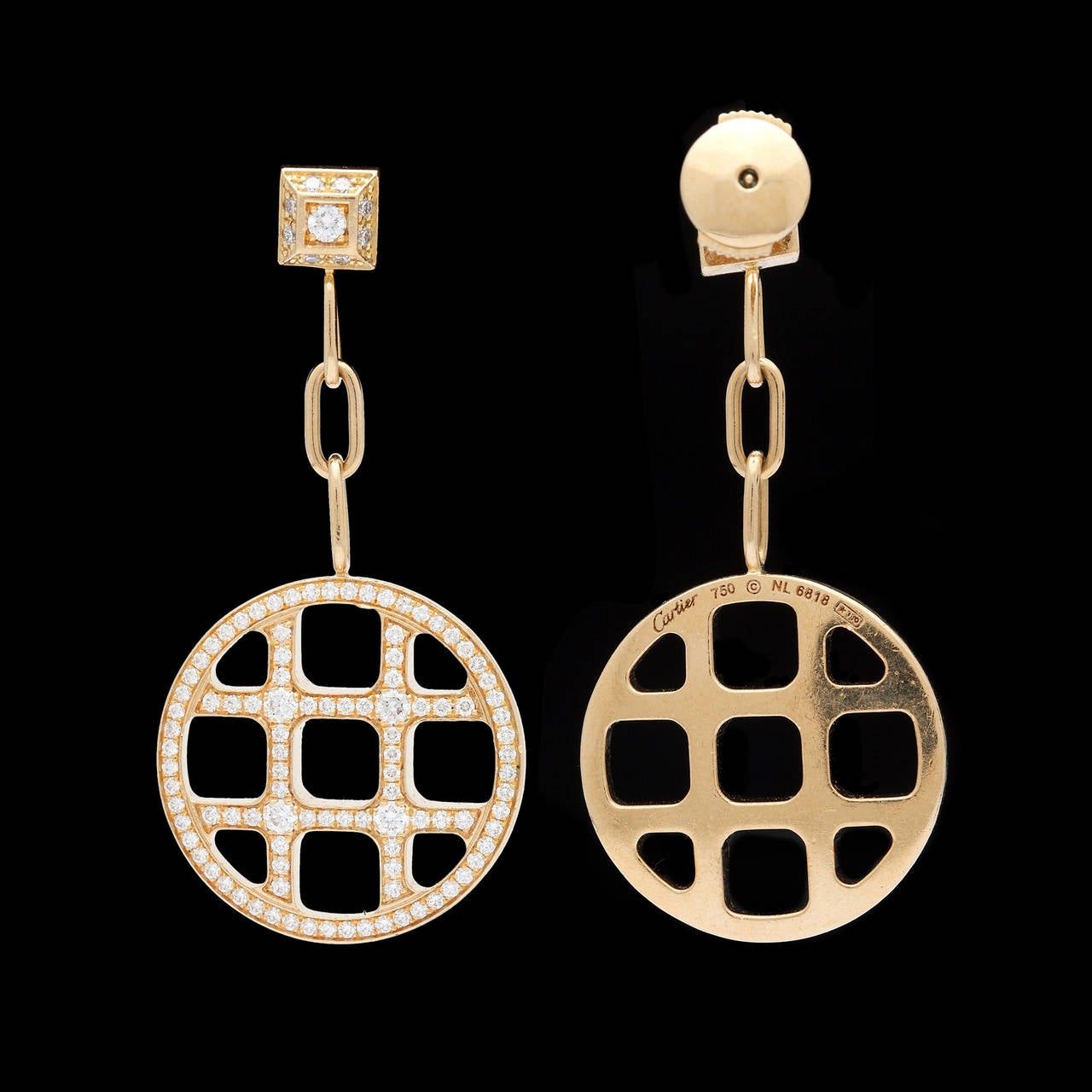 Women's Pasha de Cartier Diamond Dangle Earrings For Sale