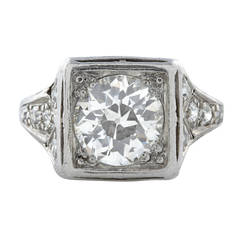 Old European Cut 1.85 Carat Diamond Platinum Ring