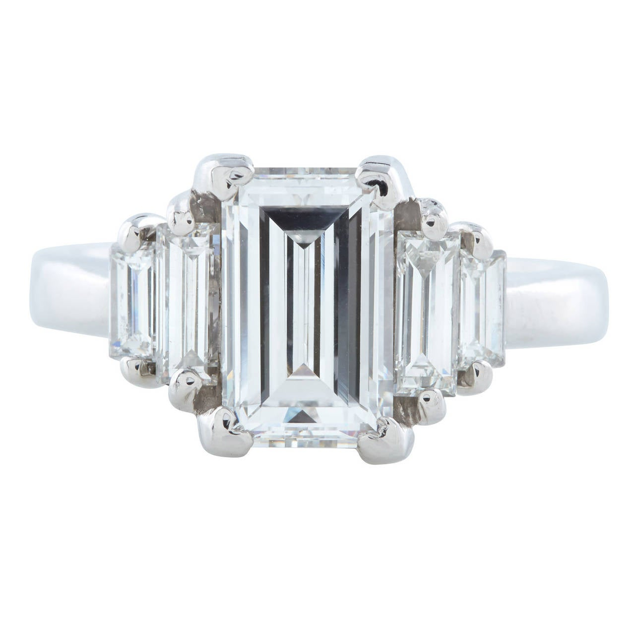 2 02 Carat GIA Cert Emerald Cut Diamond Platinum Engagement Ring at 1stdibs