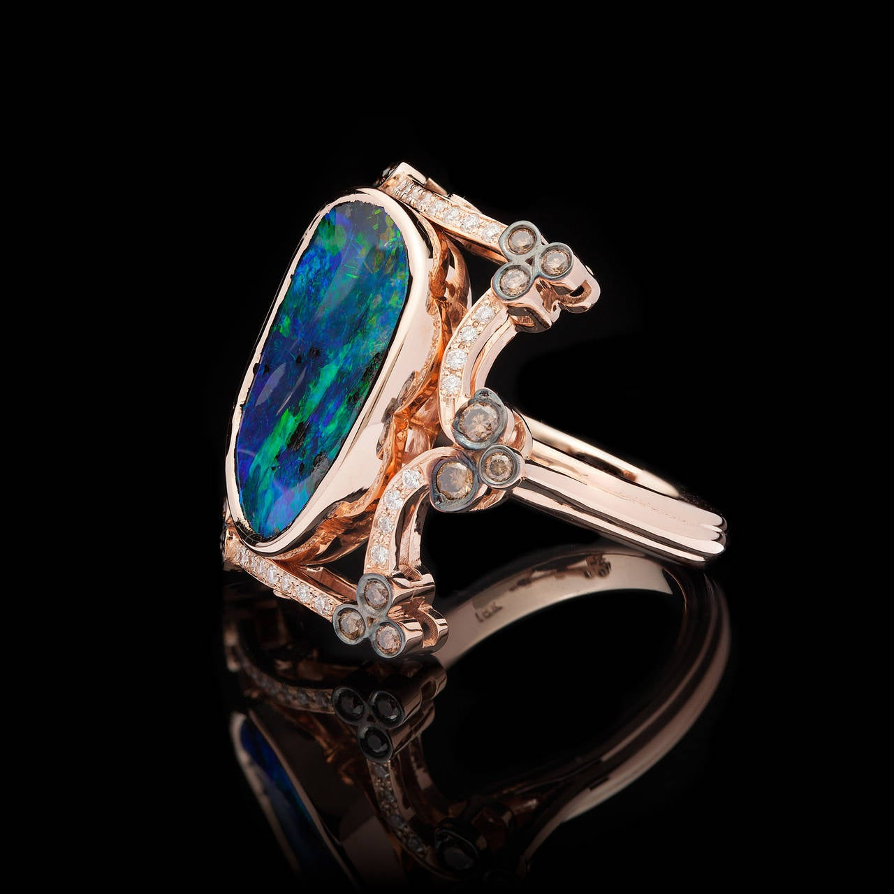 Contemporary 7.23 Carat Black Opal Diamond Gold Cocktail Ring For Sale