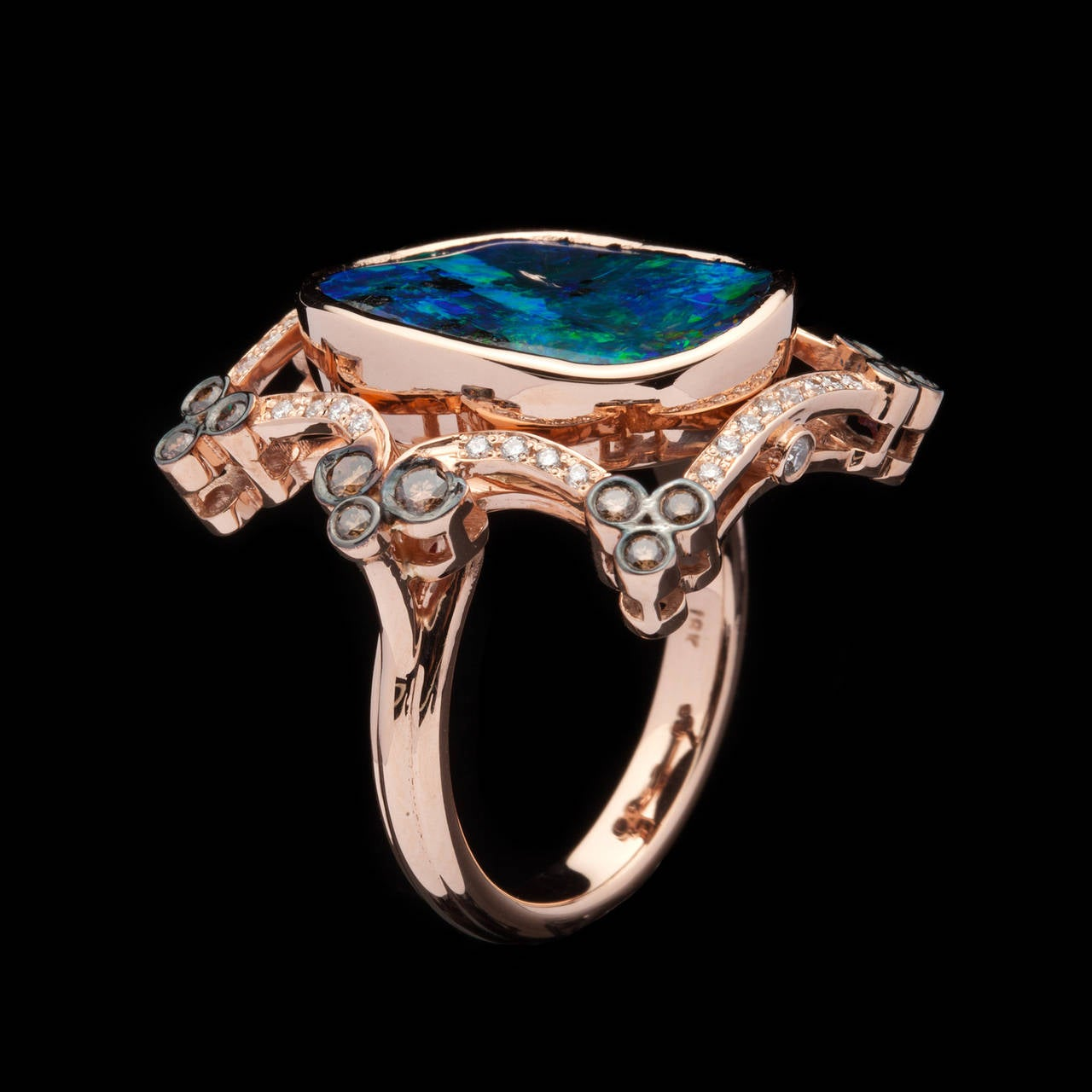 7.23 Carat Black Opal Diamond Gold Cocktail Ring In Excellent Condition For Sale In San Francisco, CA