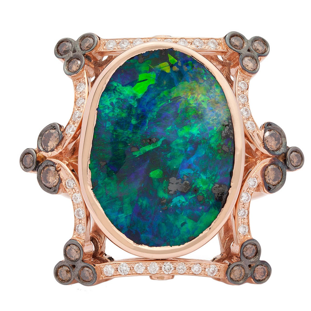 7.23 Carat Black Opal Diamond Gold Cocktail Ring