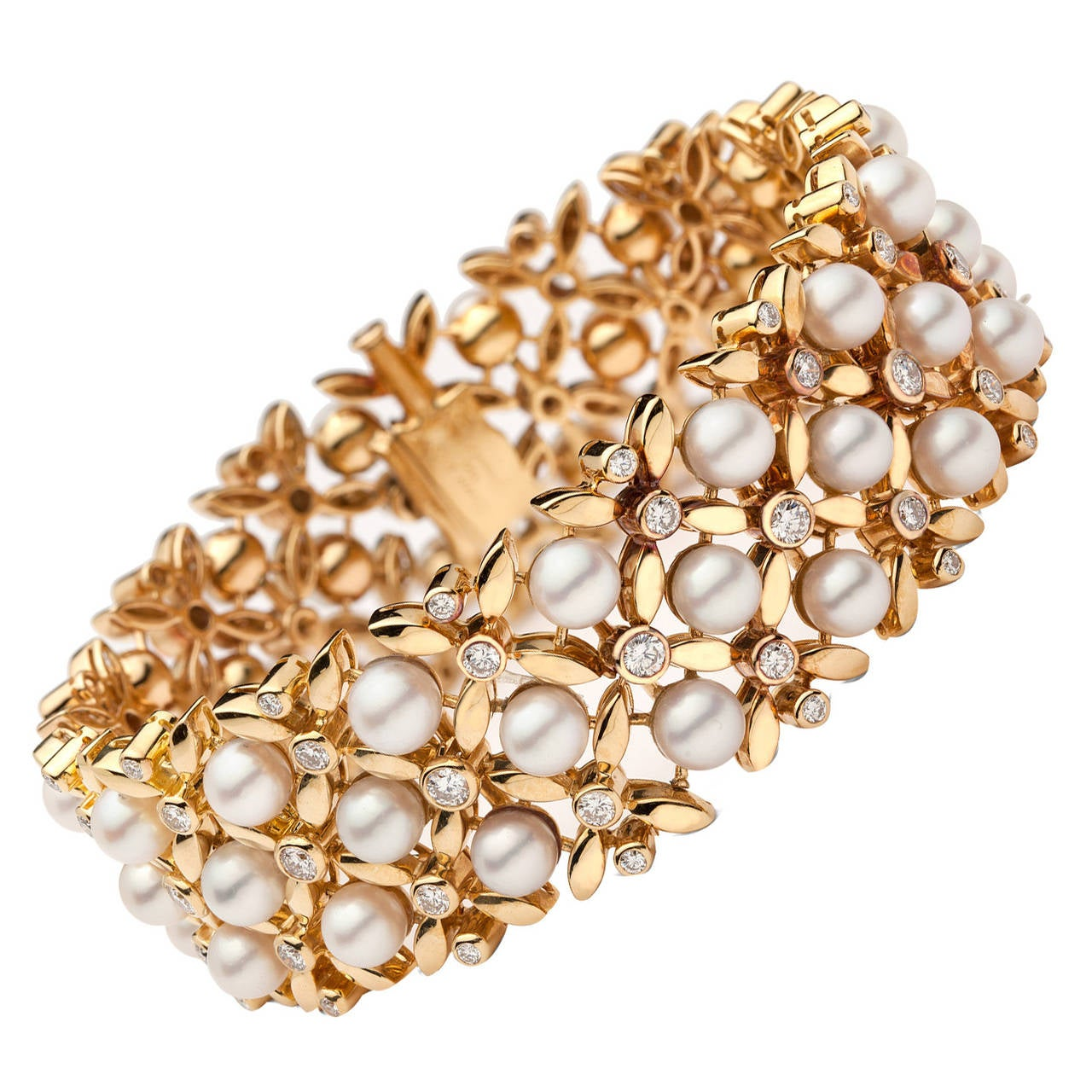 1960s Tiffany & Co. Pearl Diamond Gold Floral Link Bracelet For Sale