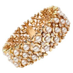 1960s Tiffany & Co. Pearl Diamond Gold Floral Link Bracelet