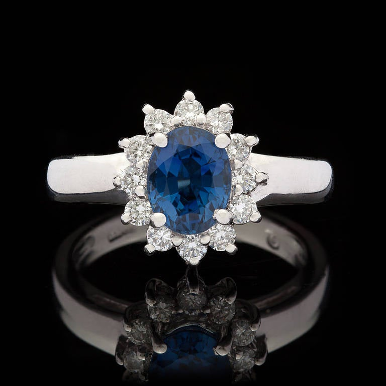 Blue Sapphire Ring with Halo 2