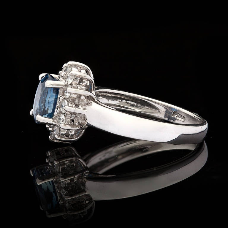 Blue Sapphire Ring with Halo 3