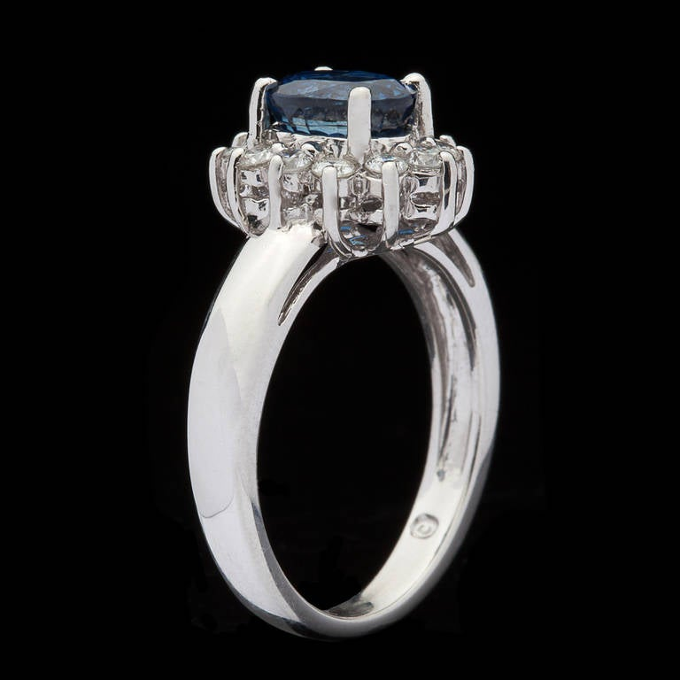 Blue Sapphire Ring with Halo 4