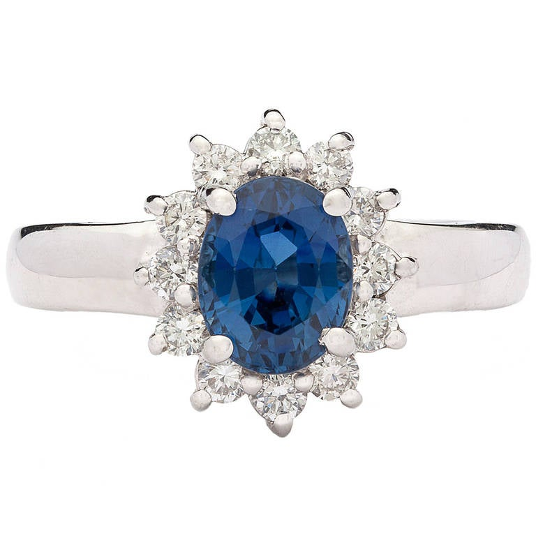 Blue Sapphire Ring with Halo 1