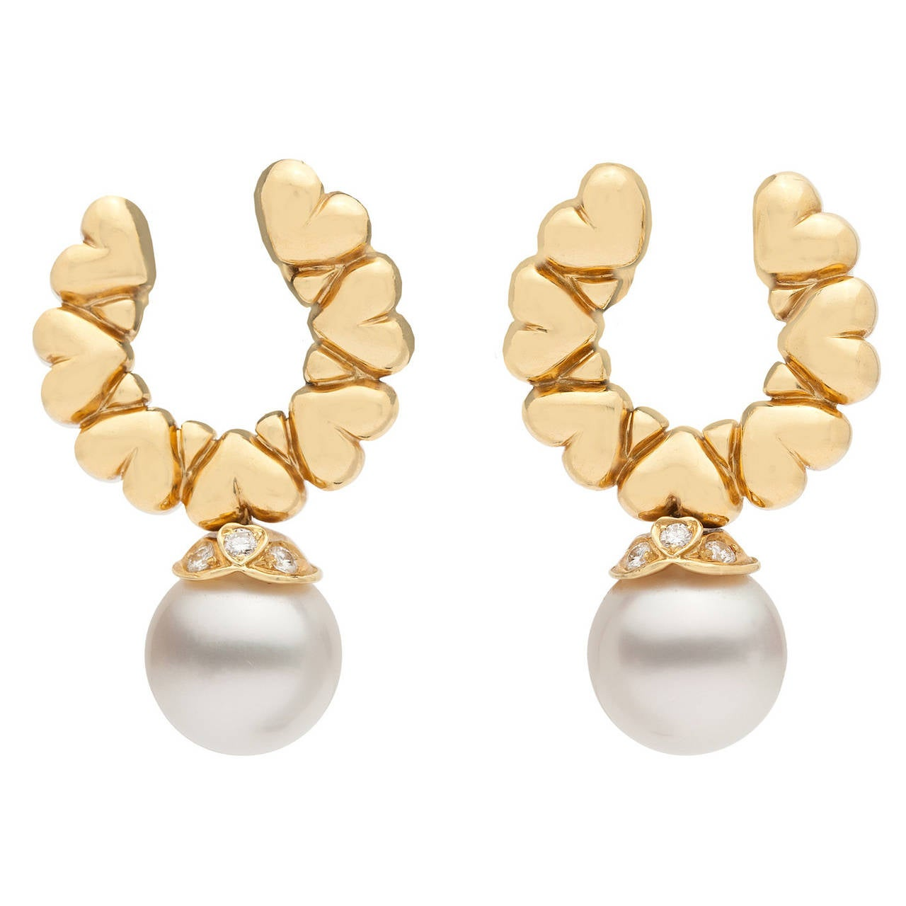 Garrard Pearl Dangle Earrings, circa 1990s For Sale