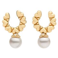 Garrard Pearl Dangle Earrings, circa 1990s