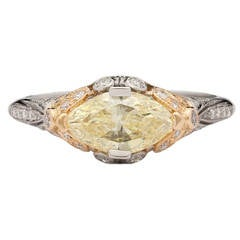 1.04 Carat GIA Certified Fancy Yellow Diamond Platinum Gold Ring