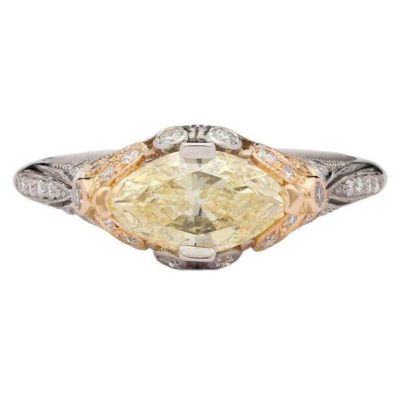 1.04 Carat GIa Cert Fancy Yellow Diamond Platinum Gold Ring