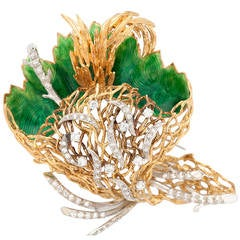 Italian Enamel Diamond Gold Foliage Brooch