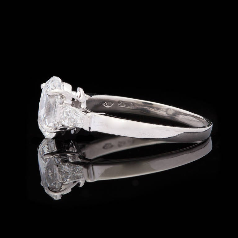 Bulgari Griffe Oval Diamond Solitaire Platinum Ring 3