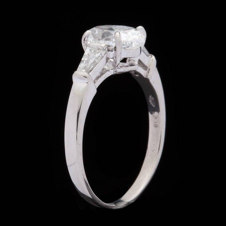 Bulgari Griffe Oval Diamond Solitaire Platinum Ring 5