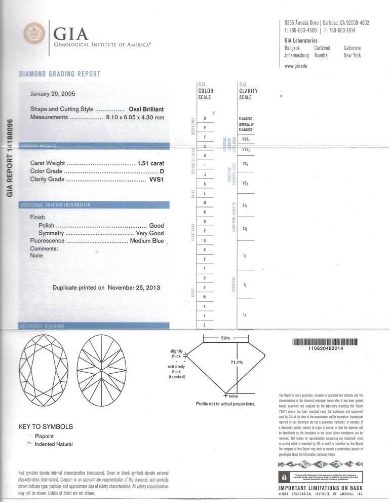 Bulgari Griffe Oval Diamond Solitaire Platinum Ring 6