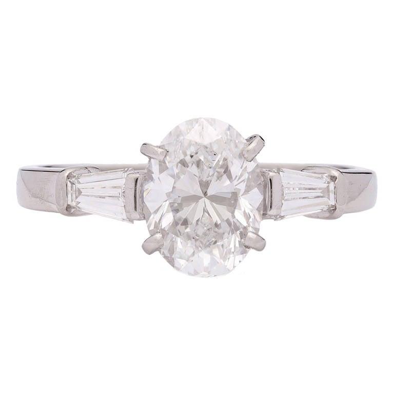 Bulgari Griffe Oval Diamond Solitaire Platinum Ring 1