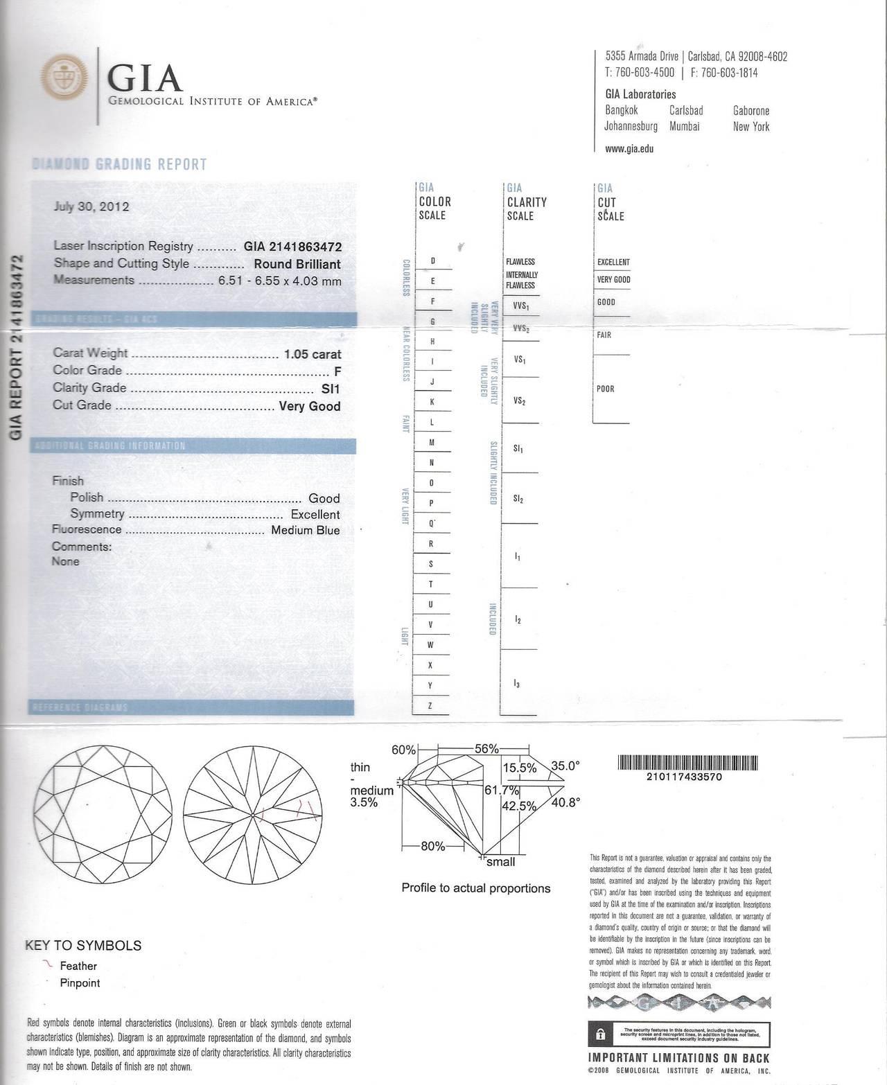 1.05 Carat GIA Certified Diamond Platinum Ring For Sale 1