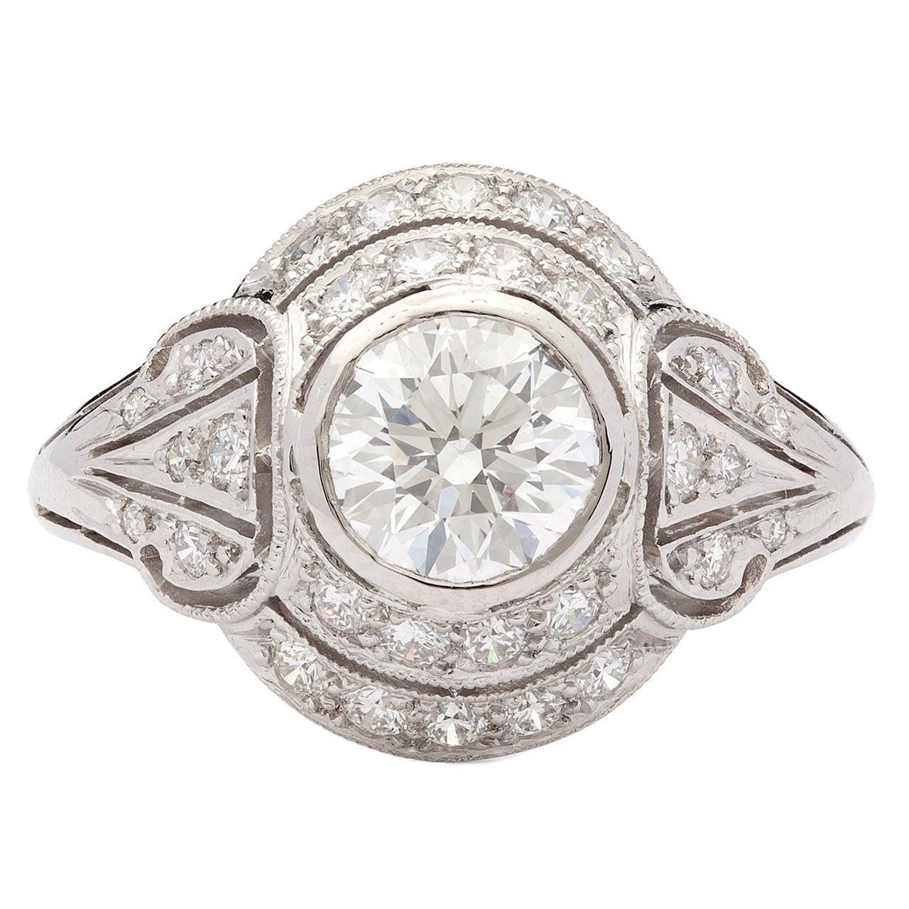 1.02 Carat Gia Cert Diamond Platinum Ring
