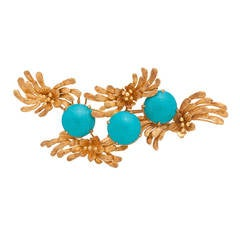 Faience Yellow Gold Brooch