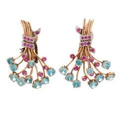 J.E. Caldwell Zircon Ruby Gold Clip-On Earrings