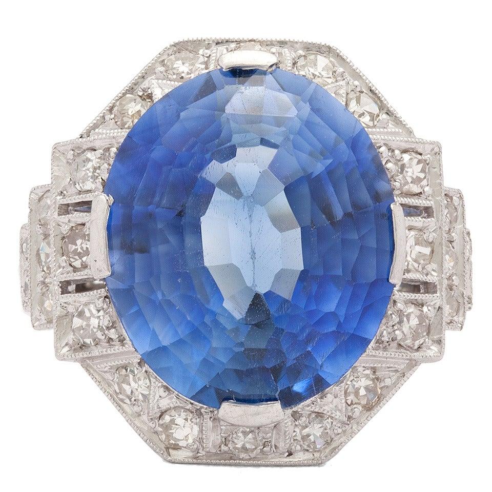 Blue Diamond Platinum: Blue Sapphire Diamond Platinum Ring For Sale At 1stdibs