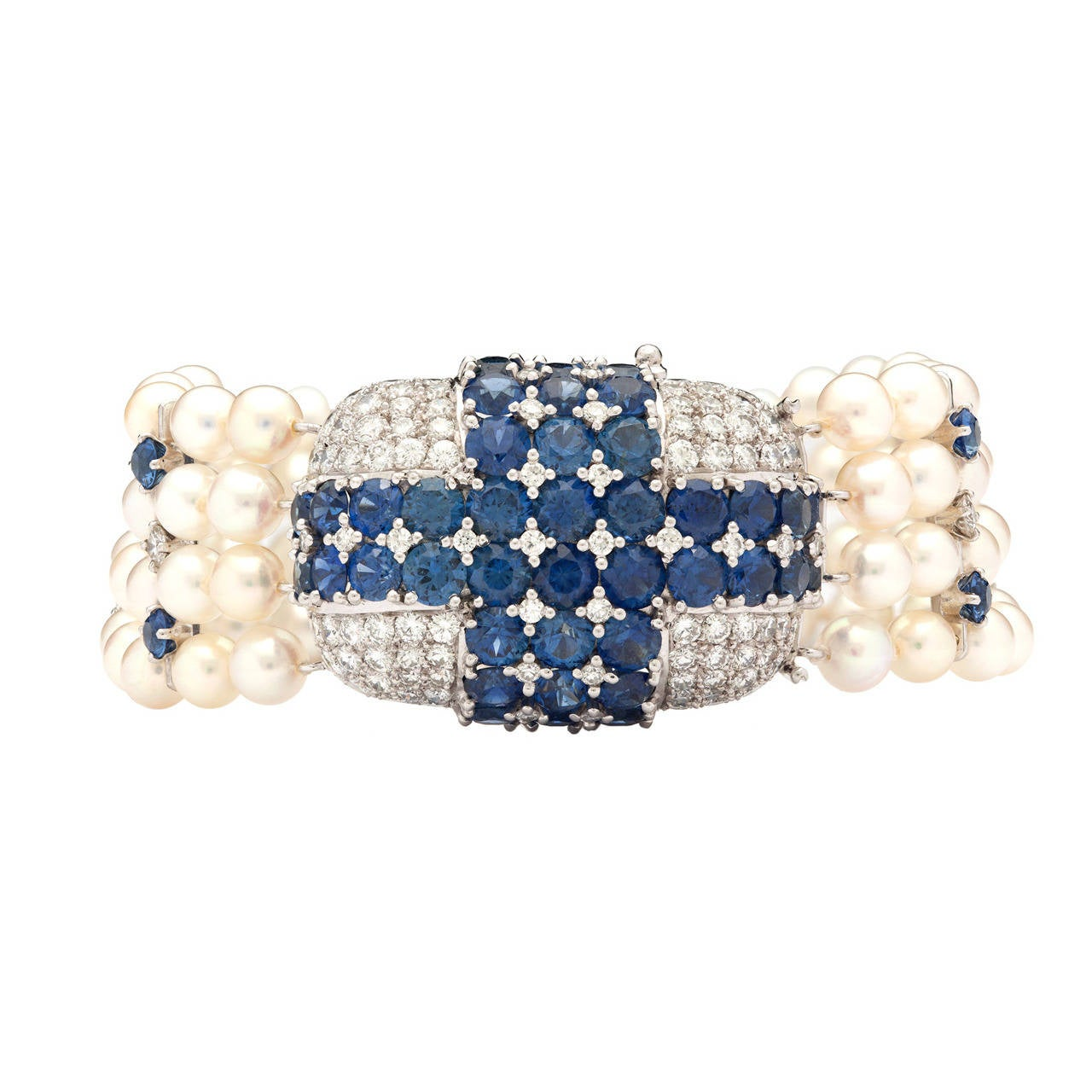 Ruser Cultured Pearl Sapphire Diamond Platinum Bracelet