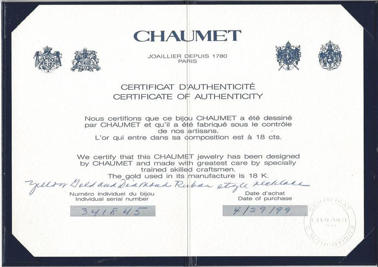 Chaumet diamond gold necklace for sale at 1stdibs for Diamond certificate of authenticity template