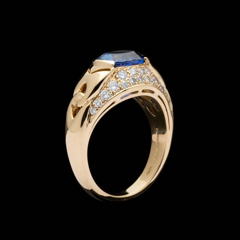 Sapphire And Diamond Checkered Ring