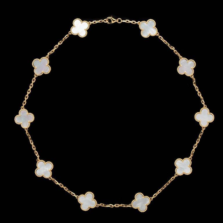 Clover Necklace Van Cleef: Van Cleef And Arpels Alhambra 10 Mother Of Pearl Clover
