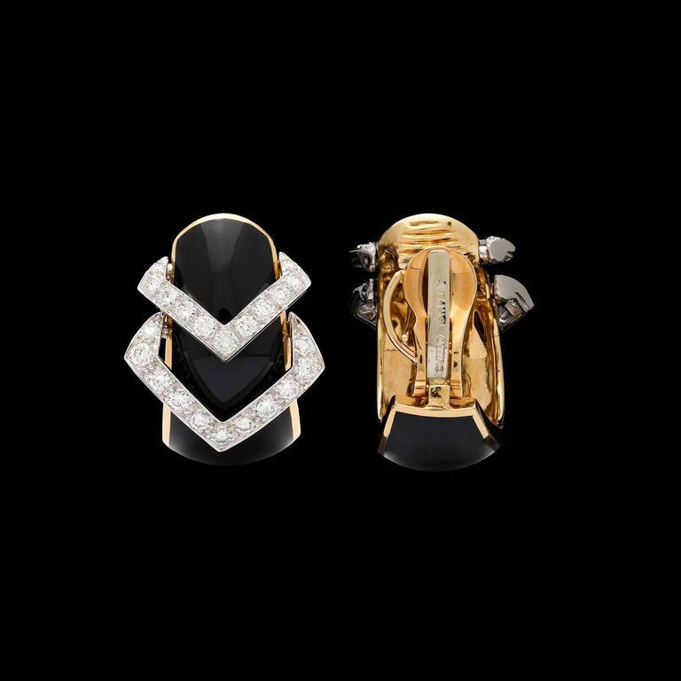 Women's David Webb Black Enamel Diamond Yellow Gold Hoop Earrings For Sale