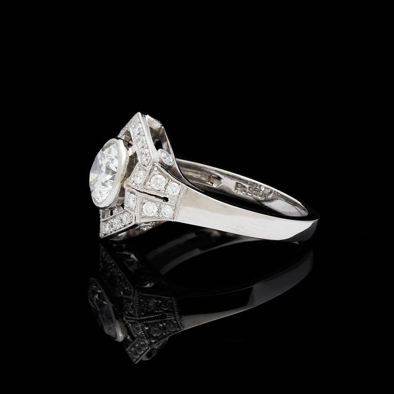 Art Deco 1.18  Carat GIA Cert Diamond Platinum Hexagon Halo Ring For Sale
