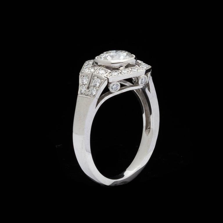 1.18  Carat GIA Cert Diamond Platinum Hexagon Halo Ring In Excellent Condition For Sale In San Francisco, CA