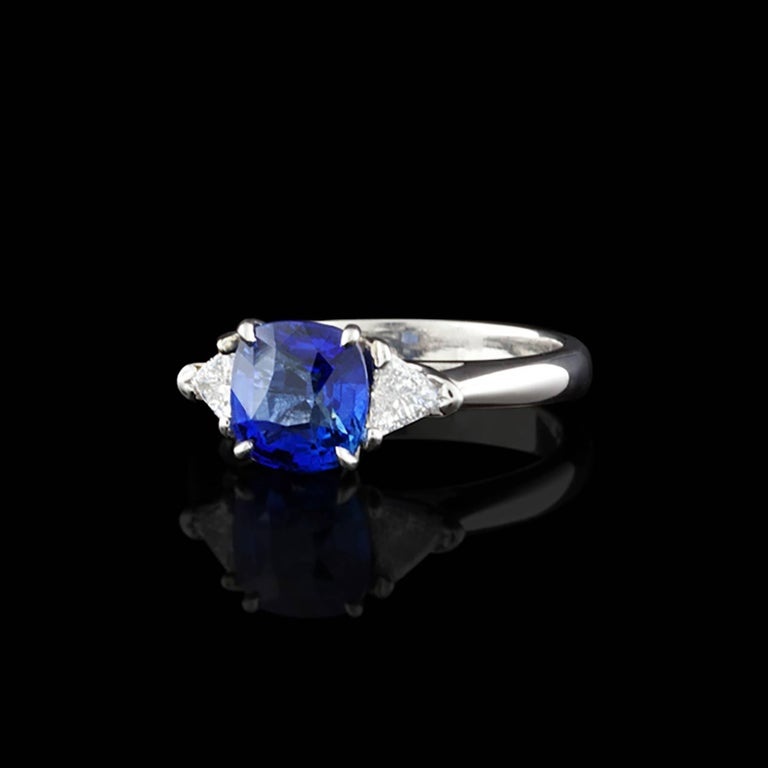 unheated blue sapphire engagement platinum