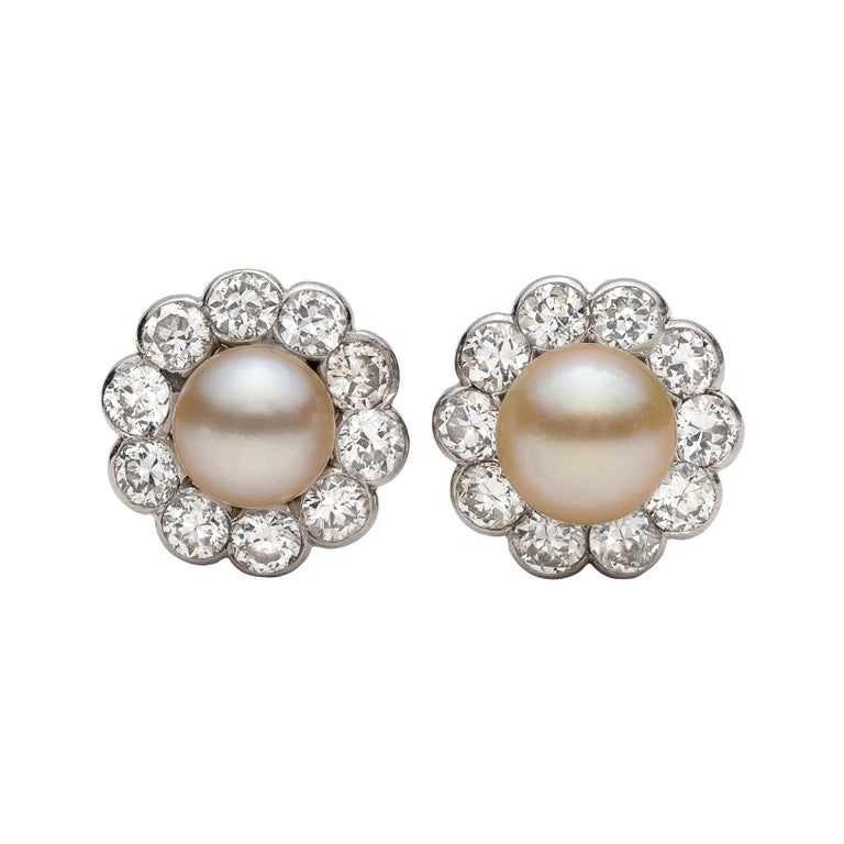 Antique Button Pearl and Diamond Earrings For Sale