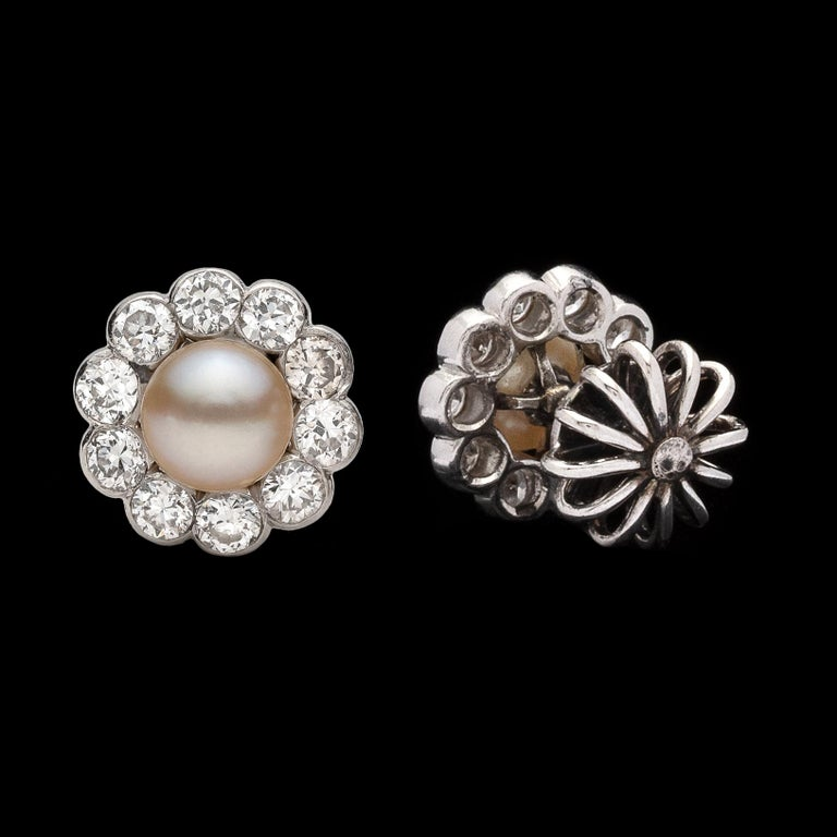 Antique Button Pearl and Diamond Earrings In Good Condition For Sale In San Francisco, CA
