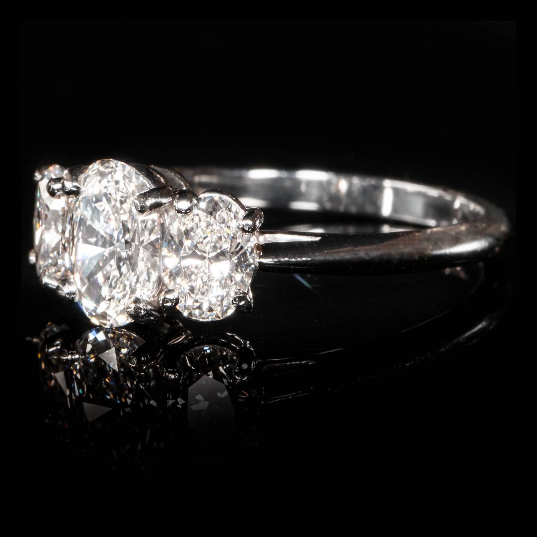 Tiffany And Co Oval Brilliant Cut Diamond Platinum Three
