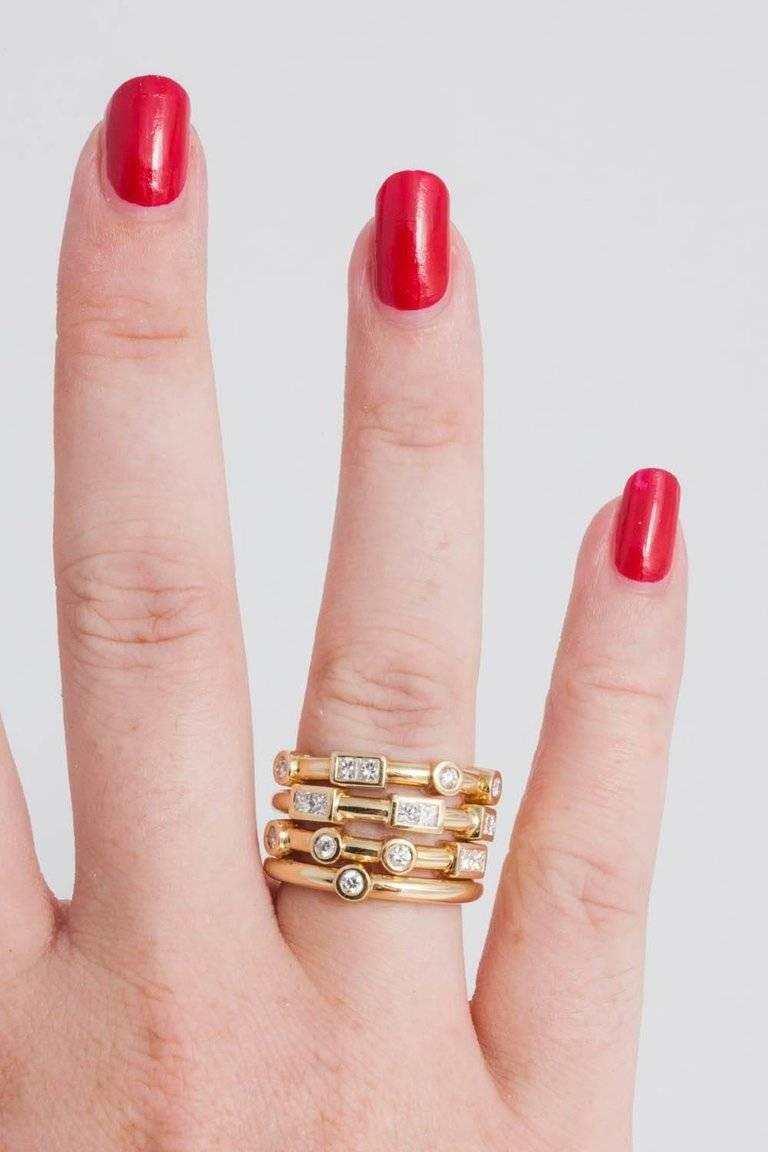 18 Carat Yellow Gold and White Diamond Love Stacking Rings by Code ...