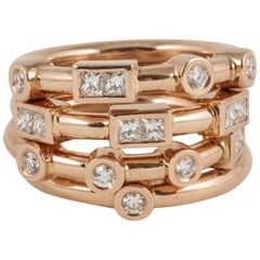 18 Carat Rose Gold and White Diamond Stack Band Rings