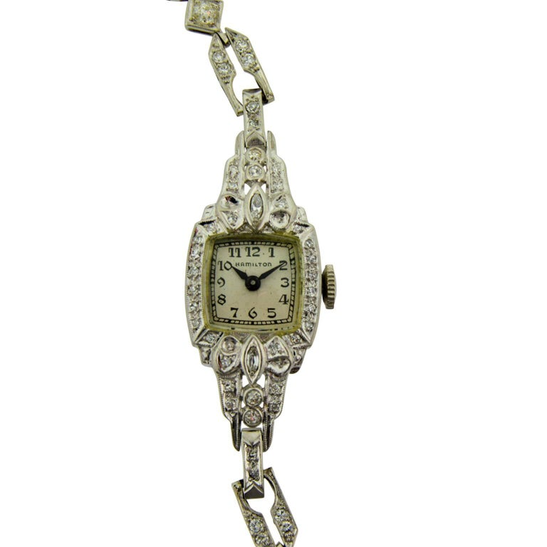 Hamilton Ladies Platinum Diamond Art Deco Bracelet Manual Watch
