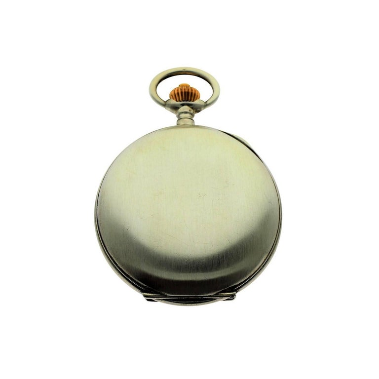 Women's or Men's Omega Silver Single Button 15 Minute Register Pocket Watch, circa 1910 For Sale