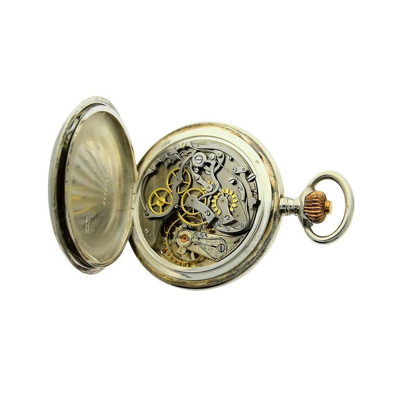Omega Silver Single Button 15 Minute Register Pocket Watch, circa 1910 For Sale 2