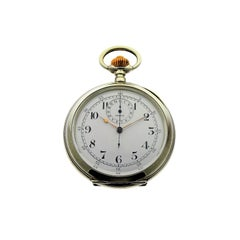 Omega Silver Single Button 15 Minute Register Pocket Watch ca. 1910