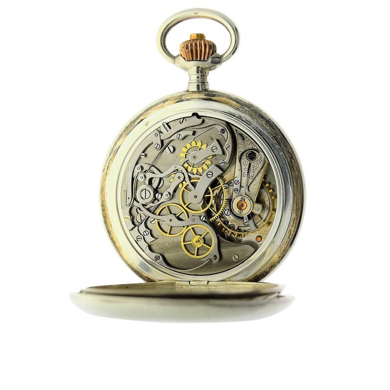 Omega Silver Single Button 15 Minute Register Pocket Watch, circa 1910 For Sale 3