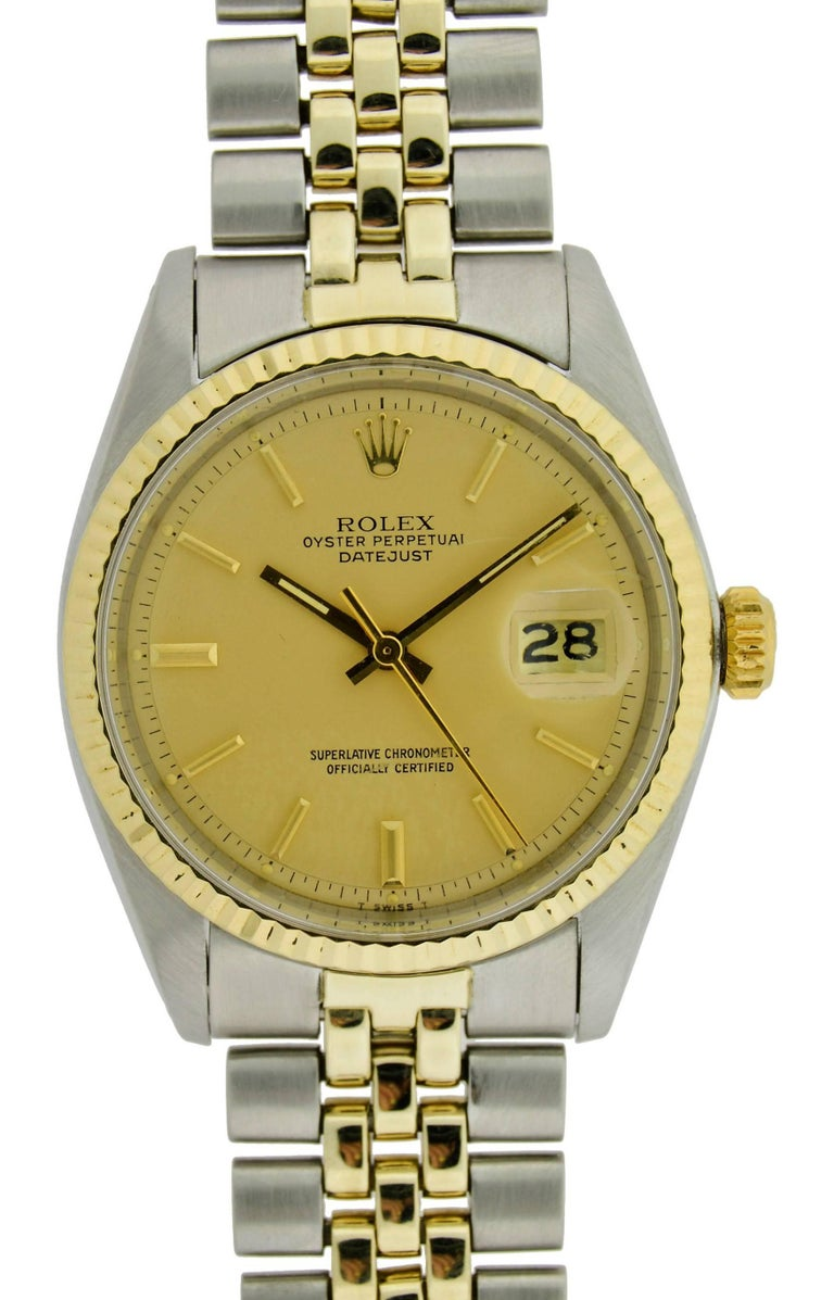 Rolex Yellow Gold Stainless Steel Datejust with Original Papers, circa 1979 In Excellent Condition For Sale In Venice, CA