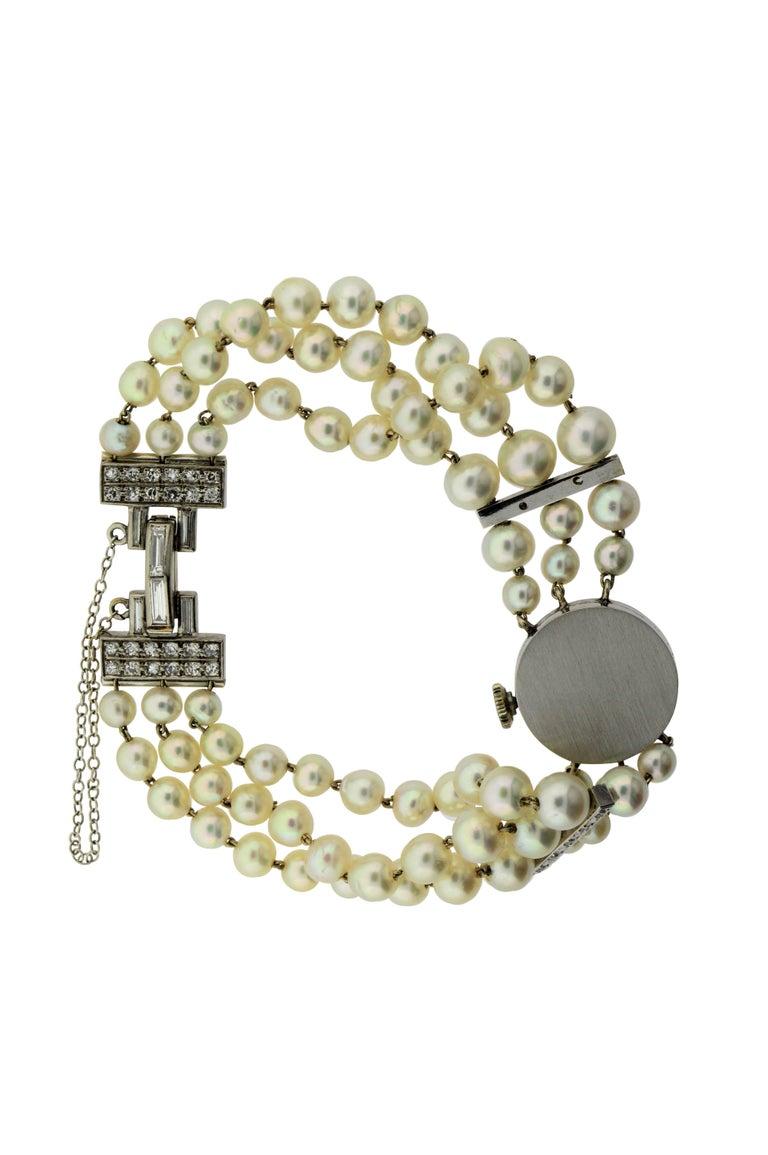Art Deco Lucien Piccard Ladies Platinum Diamond Pearl Dress Manual Watch, 1940s For Sale