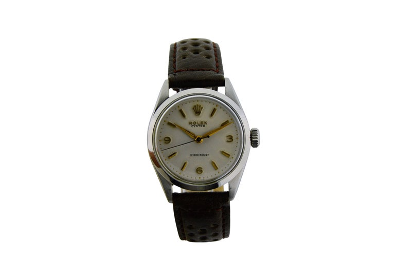 Women's or Men's Rolex Stainless Steel Art Deco Oyster Manual Watch, circa 1950s For Sale