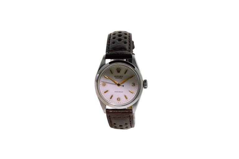 Rolex Stainless Steel Art Deco Oyster Manual Watch, circa 1950s In Excellent Condition For Sale In Venice, CA