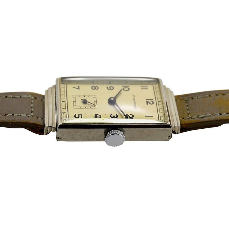 Sternwatch Stainless Steel Art Deco New Old Stock Manual Wind Watch, 1930s For Sale 1