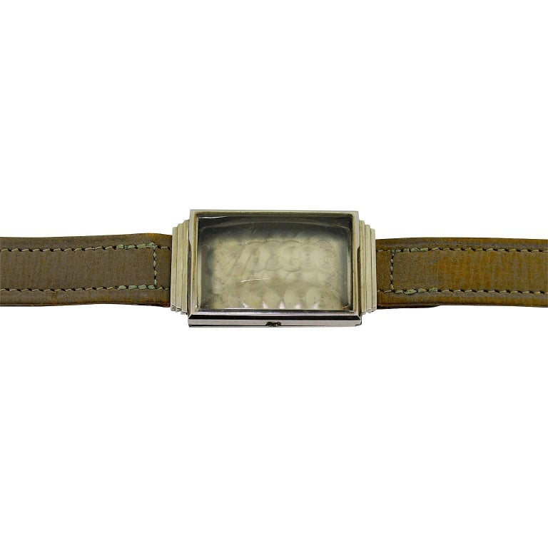 Sternwatch Stainless Steel Art Deco New Old Stock Manual Wind Watch, 1930s For Sale 4